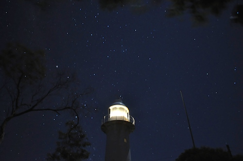 Lighthouse & Stars from safari tent balcony